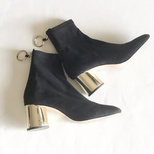 zara round heel back zip ankle boots